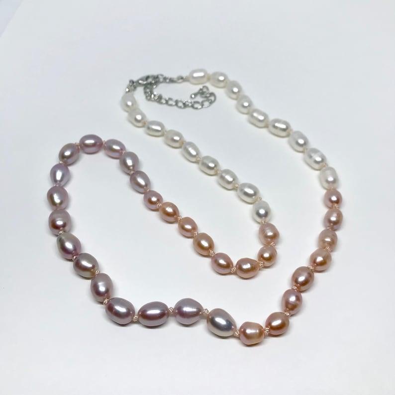 mauve-peach-white multi color freshwater pearl necklace