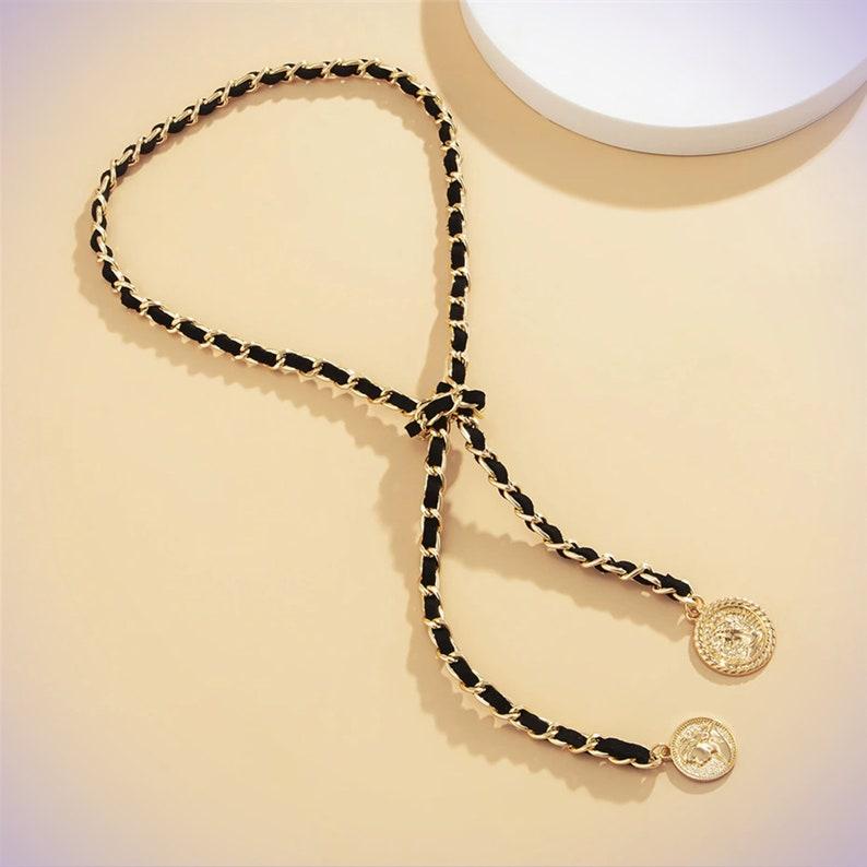 Coin Shaped Pendant Long Coin Necklace Boho Chunky Necklace Long chain Round Coin Pendant Coin Chain Necklace Coin Pendant