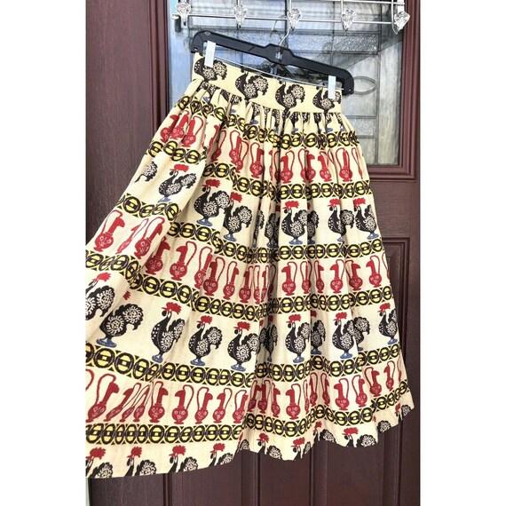 Vtg 1950s Full Circle Skirt Novelty Print Rooster… - image 2