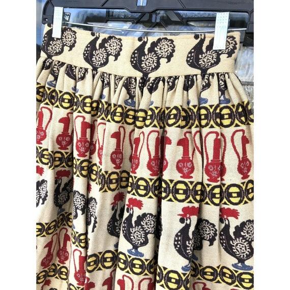 Vtg 1950s Full Circle Skirt Novelty Print Rooster… - image 5