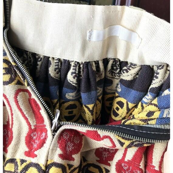 Vtg 1950s Full Circle Skirt Novelty Print Rooster… - image 7