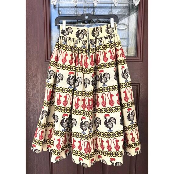 Vtg 1950s Full Circle Skirt Novelty Print Rooster… - image 3