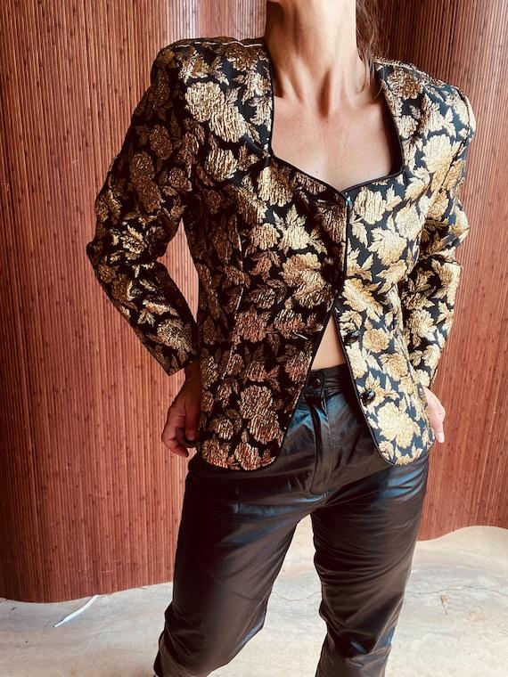 Vintage Black abs Gold Blazer