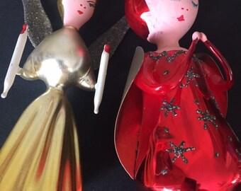 Set of 3 Handmade Glass Angel Dolls