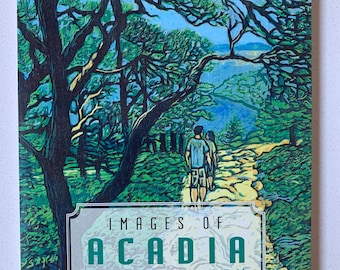 Acadia postcard book, woodcuts by Blue Butterfield
