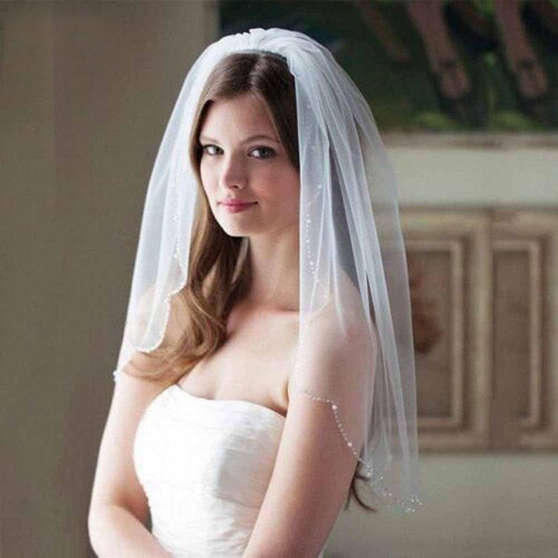bridal veil Wedding Veil hair comb Single veil soft tulle white bridal short veil pearl rhinestone edges ivory color