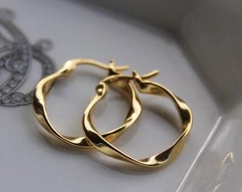 Gold Hoop Earrings, 925 Sterling Silver Twisted Hoop Earrings, 18k Gold Plated Hoop Earrings, Circle Twisted Hoop Earrings, Minimalist