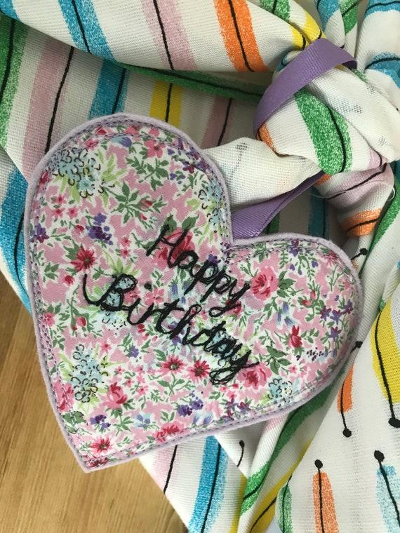 Happy Birthday fabric gift tag