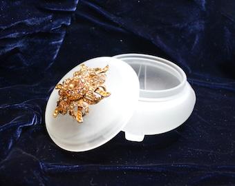 Repurposed vintage brooch decorated powder jar