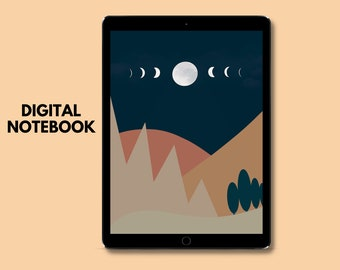 Moon Digital Journal with Sticker Book, witchy journal, gratitude journal, manifestation journal, notebook tabs, goodnotes template