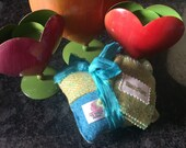 Patchwork large Pin cushion with needle case in Harris tweed