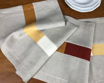 Linen tread naturally gray with colored insert