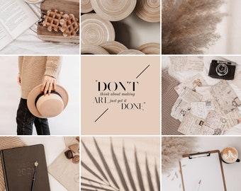 45 STOCK INSTAGRAM images package, summervibe, beige, free use, blogger, influencer, mockup, warm tones, instagram feed