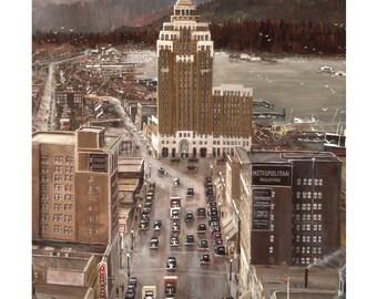 Marine Building - Hastings Street by Tom Carter | Stanley Park | Vancouver | Post Office | Metropolitan | Coal Harbour | Retro | Vintage