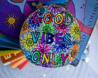 Good Vibes Only Rainbow Original Wood Painting | Basswood 4x4