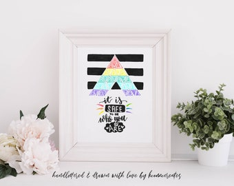 "Straight Pride Ally Flag Art Print | Handlettered | Safe Space ""It is safe to be who you are"" | 5x7 or 8x10"
