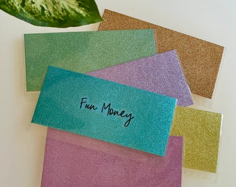 Personalized Glitter Cash Envelopes with Clear Back Laminated   SPARKLY   Optional Cash Tracker
