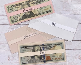 Clear Cash Envelopes Laminated   Soft Pinks/ White Colors   Reusable Cash Trackers on Back   Minimalist
