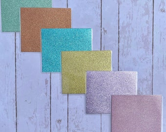 Mini Glitter Cash Envelopes Laminated   SPARKLY Pastel Colors