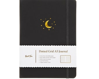 A5 Dot Grid Bullet Journal - Vegan Leather Hardback Notebook - Extra Thick Paper - Moon and Stars - By Yop & Tom