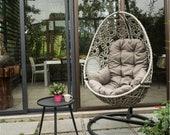 Outdoor swing hanging basket household single iron rocker wicker woven indoor balcony adult creative lazy wicker chair hanging chair