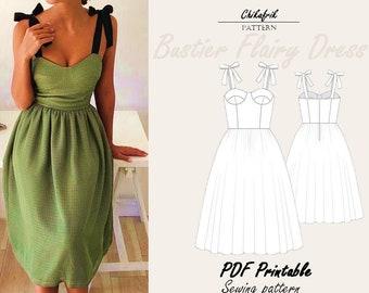 Bustier dress pattern|sewing Pattern|7 sizes XXS - XXL| Bustier pattern| corset dress pattern|dress pattern for women|Bustier midi dress