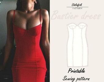 Soft cup bustier bodice dress|Bustier pattern|7 sizes XXS XXL|PDF sewing pattern|bustier sewing pattern corset pattern|bustier dress pattern