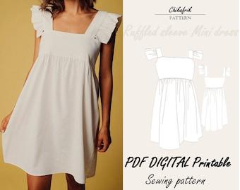 Ruffled strap dress pattern|  7 sizes XXS to XXL|summer dress pattern |pdf printable sewing pattern| women pattern| beach dress pattern