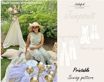 Jumpsuit  PDF Sewing Pattern|XXS to XXL|combishort/jumpsuit short/Summer rompers/Overall/ Dungarees women|Patron de Couture Combinaison