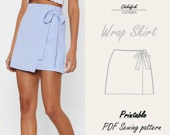 Womens Wrap Skirt Sewing Pattern|7sizes 4-16 |mini skirt pattern|pdf sewing pattern|wrap skirt pattern|Wrap Tie Front Skirt Digital Pattern