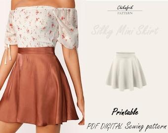 Mini skirt pattern| XXS-XXL 7 Sizes|3 length options|PDF sewing pattern|Womens high waisted skirt| Beginner pattern| Sewing pattern women