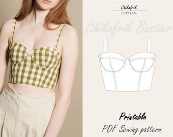 Bustier pattern|7sizes XXS - XXL|bustier top sewing pattern PDF|bodice pattern|bustier sewing pattern|Corset pattern|Soft cup bustier bodice
