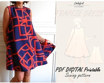 Flair Dress Pattern PDF|Trapeze dress sewing pattern|sewing pattern|7sizes XXS XXL|cute summer dress pattern|Alinedress|sewing pattern women