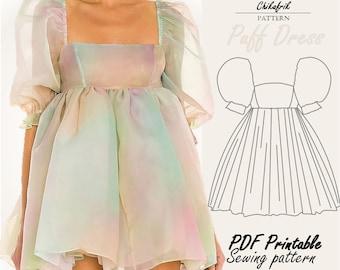 Puff Dress PATTERN | PDF digital pattern 4- 18 US size |sewing pattern | puff sleeve dress pattern| Selkie dress inspired|Cottagecore Dress