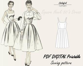 50s dress sewing pattern|PDF sewing pattern|7sizes XXS toXXL|women dress pattern|vintage style|vintage sewing pattern|digital sewing pattern