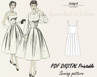 Square neck dress pattern| PDF sewing pattern| digital pattern |7 sizes XXS to XXL | 50's dress |women sewing pattern| vintage style