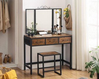 Make up table with Stool- 3 Fold mirror - 3 drawers