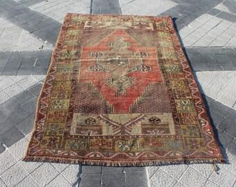 Vintage Turkish Rug • 4x7 Area Rug • 5.2x3.2 Feet Rug • Oriental Rug 4x7 • Antique Rug • Bedroom Rug • Livingroom Rug 4x7 • Kitchen Rug 4x7
