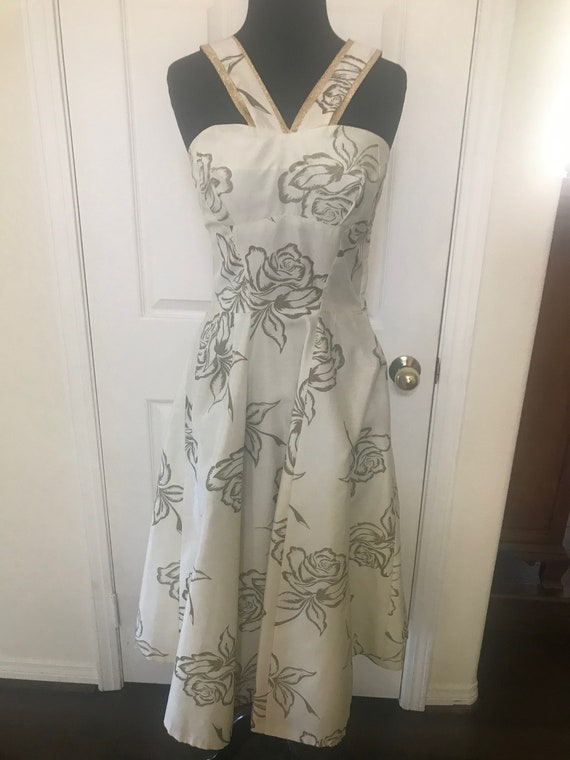 Vintage 50's rose print bombshell dress with meta… - image 6