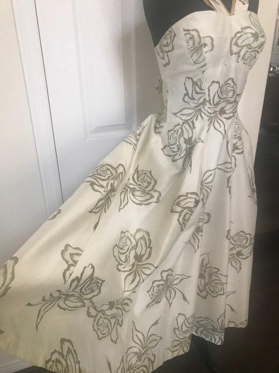 Vintage 50's rose print bombshell dress with meta… - image 8