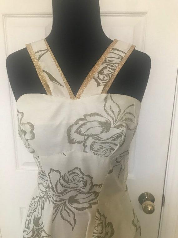 Vintage 50's rose print bombshell dress with meta… - image 5
