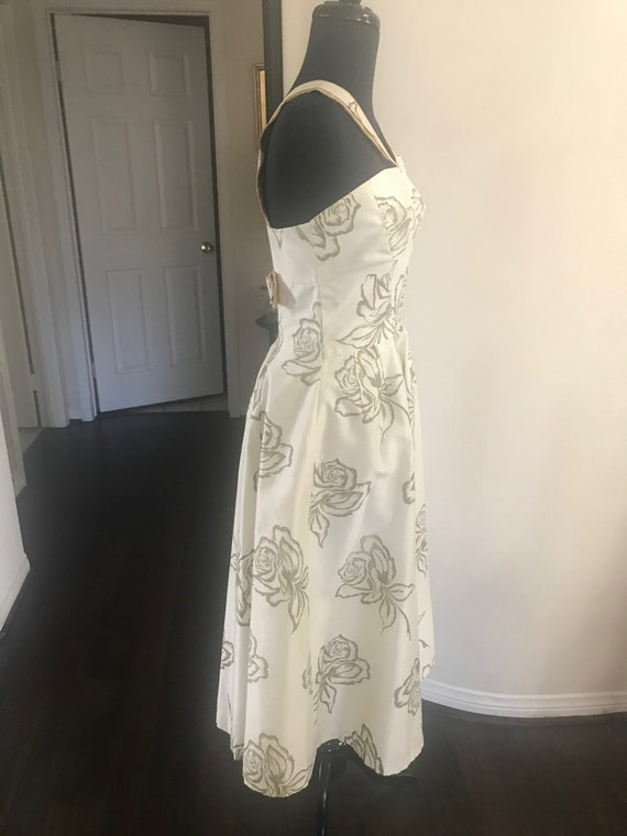 Vintage 50's rose print bombshell dress with meta… - image 2