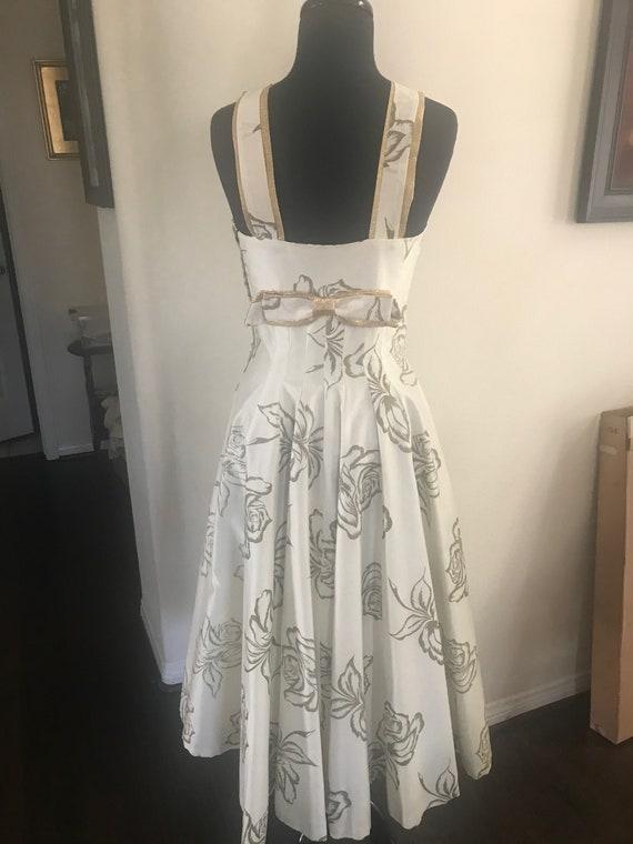 Vintage 50's rose print bombshell dress with meta… - image 3