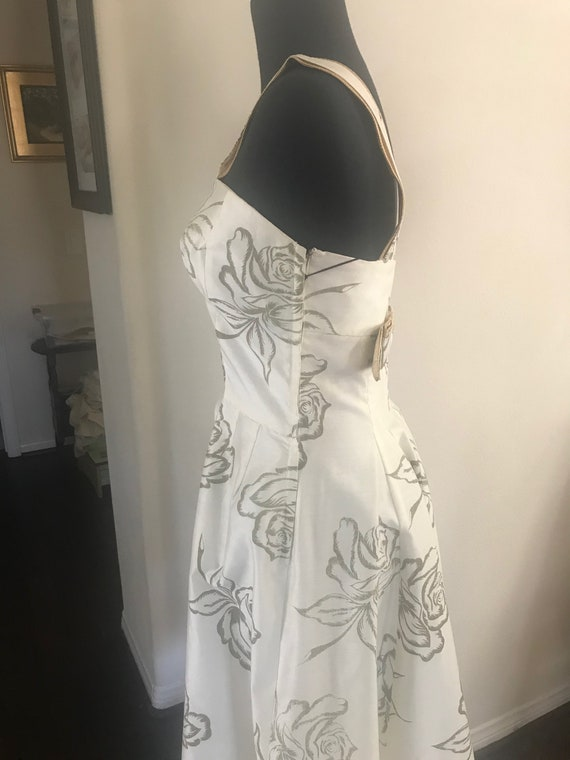 Vintage 50's rose print bombshell dress with meta… - image 4