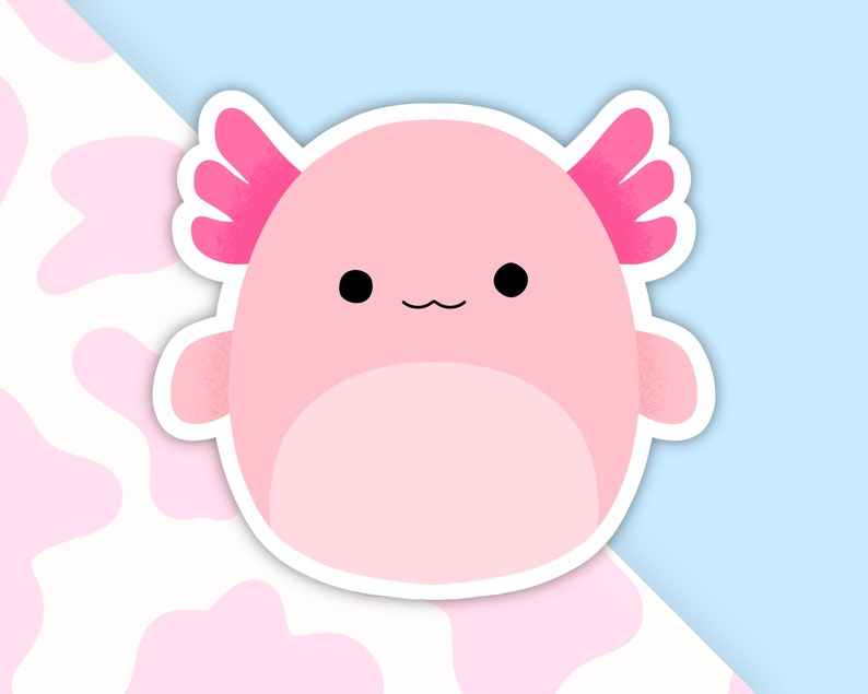 Pale Pink Squishmallow Inspired Stickers Archie Axolotl