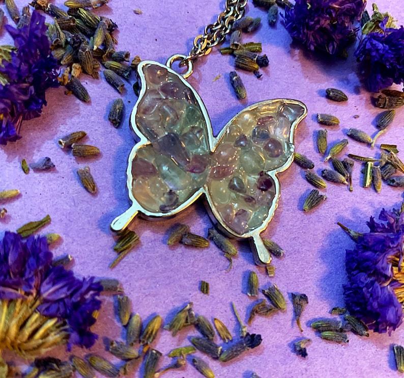 Diamond  Crystal Stone Necklace Rainbow Fluorite
