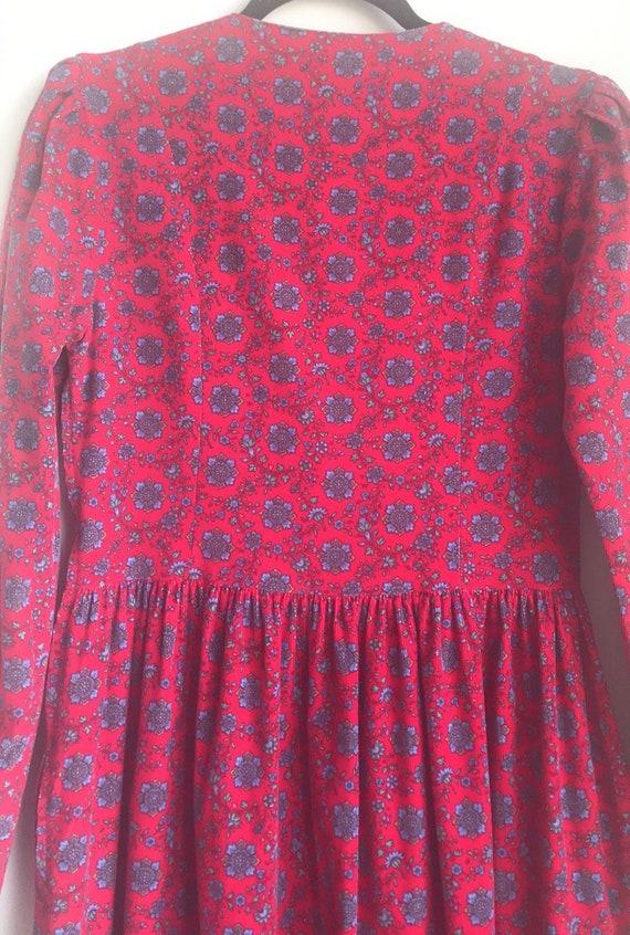 Vintage Laura Ashley Red Floral Cottagecore dress - image 8