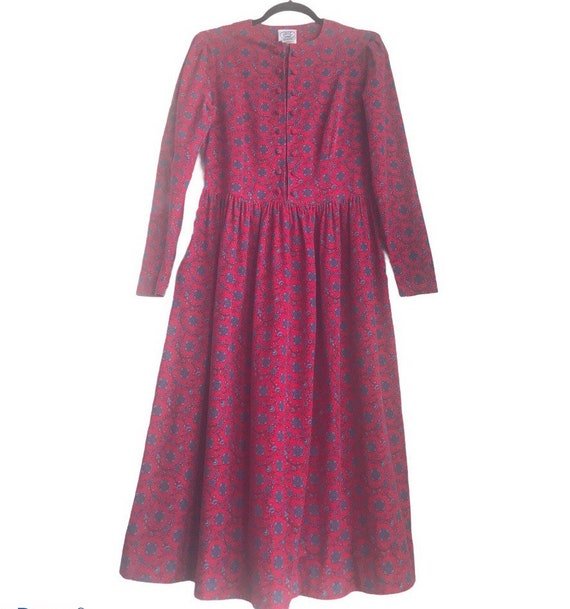 Vintage Laura Ashley Red Floral Cottagecore dress - image 1
