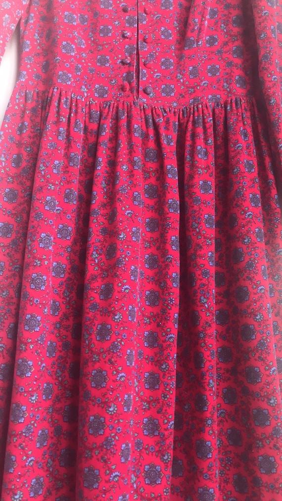 Vintage Laura Ashley Red Floral Cottagecore dress - image 9
