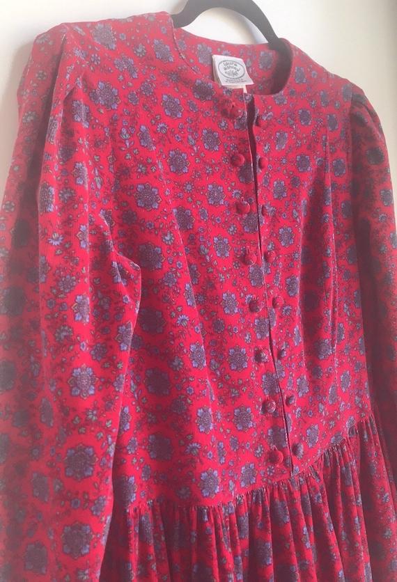 Vintage Laura Ashley Red Floral Cottagecore dress - image 6